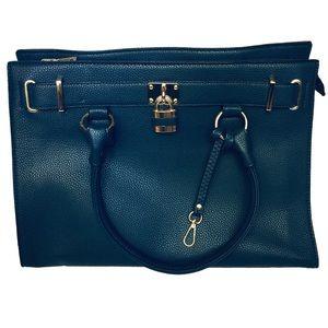 Handbags - Women's Large Shoulder Bag Navy Blue Gold Accents